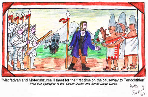 Macfadyan and Motecuhzuma II meet for the first time on the causeway tp Tenochtitlan