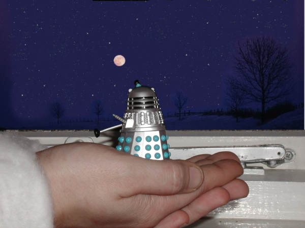 Mr. Dalek looks out of the window, at the moon