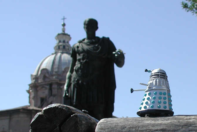 Mr. Dalek looks at a statue of Julius Caesar