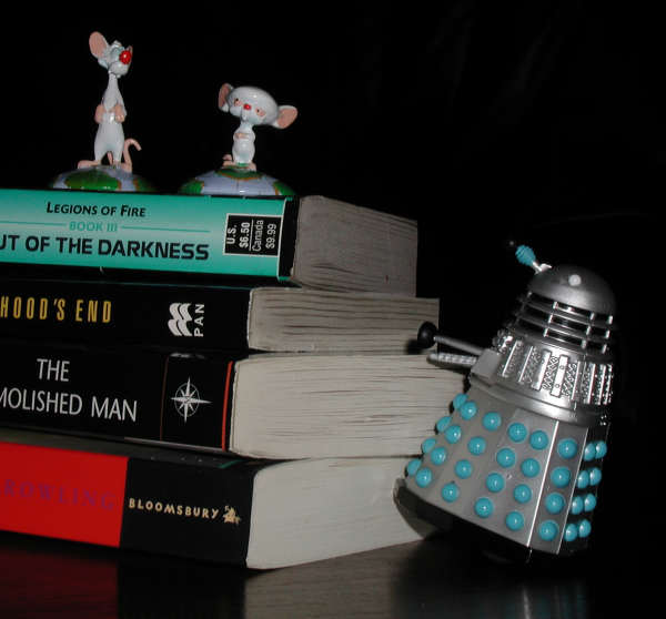 Pinky and The Brain wait for Mr Dalek to follow them up some books.